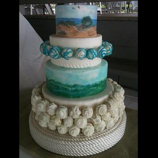 My sisters's beach wedding cake