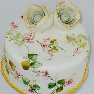 Hand painting birthday cake