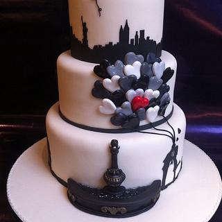New york / Banksy inspired wedding cake