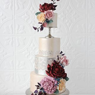 Moody Metallic Pedestal Cake