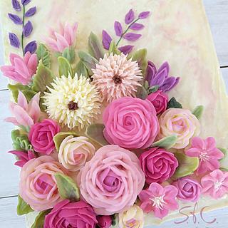 Swiss meringue buttercream cake and flowers