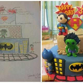 Hunter's super heroes cake
