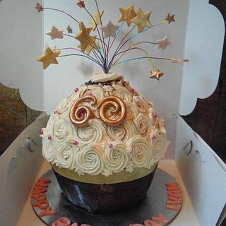 60th Birthday Giant cupcake  - Cake by Natasha
