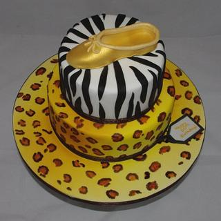 Animal Print and Ballet Shoe Cake