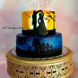 love at dawn ( 25th anniversary)  - Cake by Divya chheda