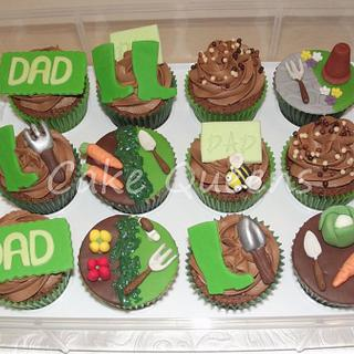 Allotment themed Birthday cupcakes