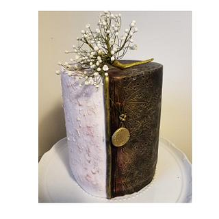 Black, rose and gold birthday cake with