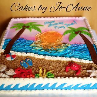 Beach theme - Cake by Cakes by Jo-Anne