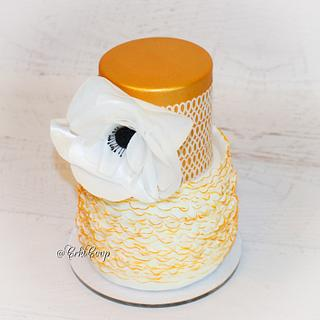 Gold, Frills, and Wafer Paper - Cake by CrktCoop