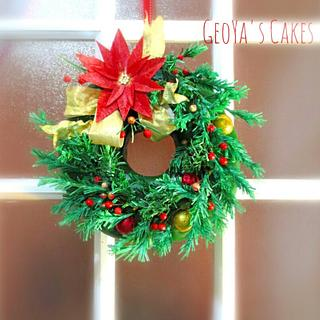 Hanging Chrsitmas Wreath Cake - Cake by GeoYa's cakes