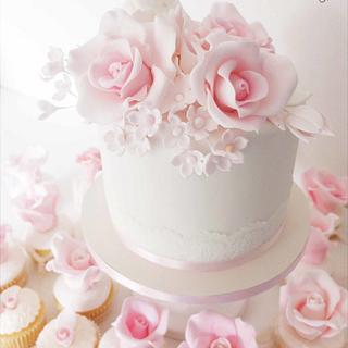 pretty cupcake tower wedding  - Cake by Sharon, Sadie May Cakes