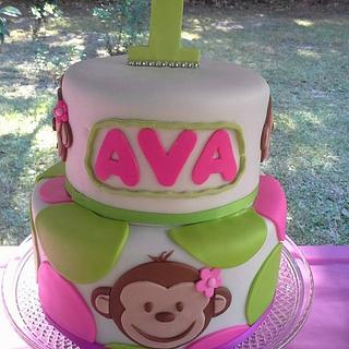 Monkeys and PolkaDots - Cake by Tonya