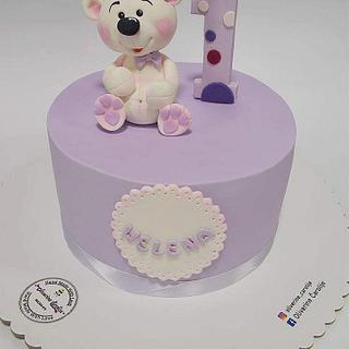 Teddy Cake for girls 1st birthday