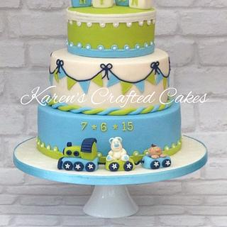 Blue & lime Christening cake