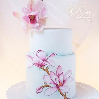 Magnolia Hand painted Cake