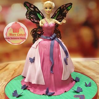 Barbie fairy dress cake