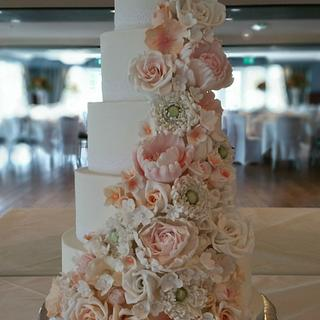 Pastel Cascade Wedding Cake