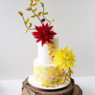 Autumn cake with sugar dahlias