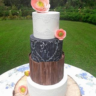 Wedding cake, blackboard and wood effect