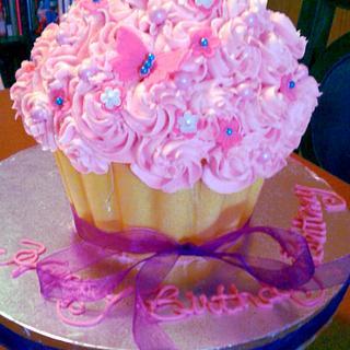 Pink Butterflies Birthday Cupcake Cake