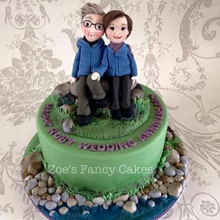 Ruby wedding anniversary cake - Cake by Zoe's Fancy Cakes