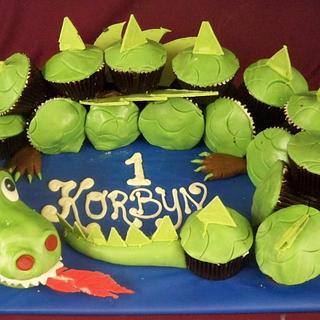 dragon cup cake birthday cake