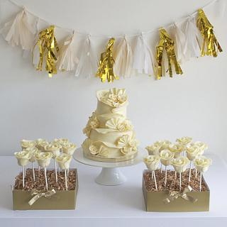White Chocolate Wedding Cake & Rose Cake Pops