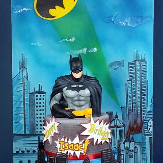 Batman cake with fondant back board.