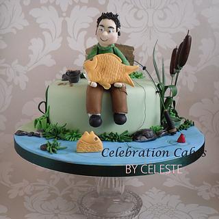 Carp fishing theme birthday cake