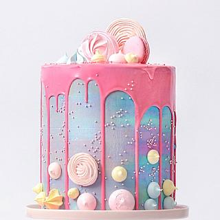 Pink Drizzel Marshmellow and Mararoon cake