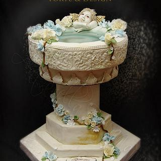 baptism fount cake