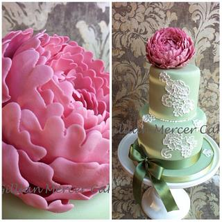 Large peony flower and brush embroidery cake
