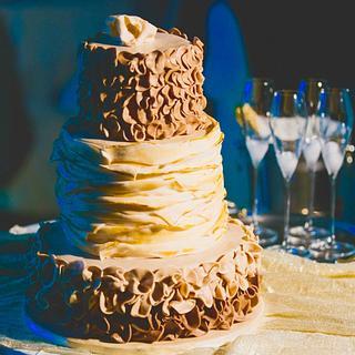 Brown and beige ruffle wedding cake