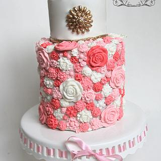 Spring blossoms double barrel cake