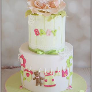Pink & green baby shower - Cake by Jo Finlayson (Jo Takes the Cake)