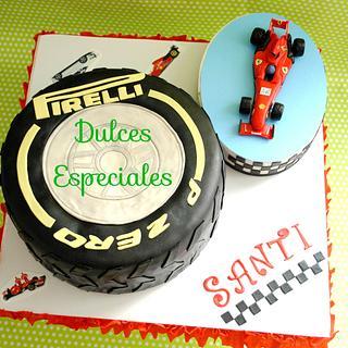 Cake Ferrari Fern Alonso. Tarta neumatico y ferrrari