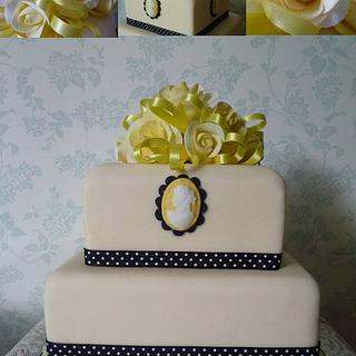 Yellow Roses and Cameo Anniversary Cake