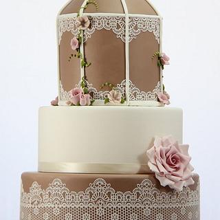Vintage Birdcage Wedding - Cake by Jo Kavanagh