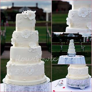 Vintage Lacey Wedding  - Cake by Flourbowl Cakes