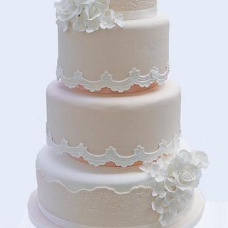 Peach Lace Wedding Cake