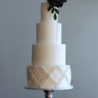 Lace and Lattice Wedding Cake