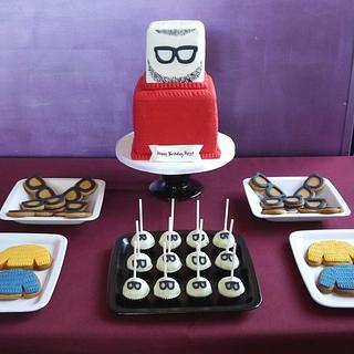 Beard & jumper dessert table - Cake by Beth Mottershead