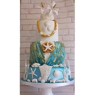 Sea Shell beach Themed Wedding Cake