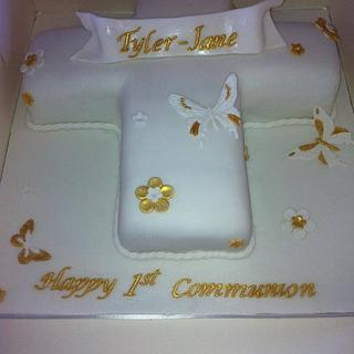 holy communion cake gold and white