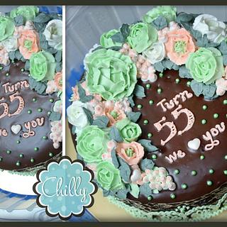Flower Wreath Buttercream (Green)