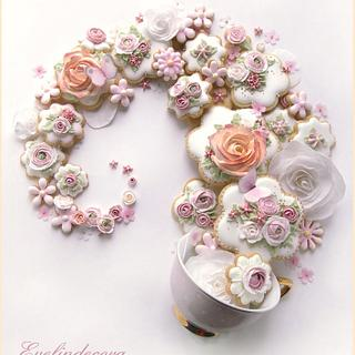 Flower cookies swirl