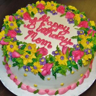 mixed buttercream floral birthday cake