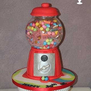 Sweet overload gumball machine cake