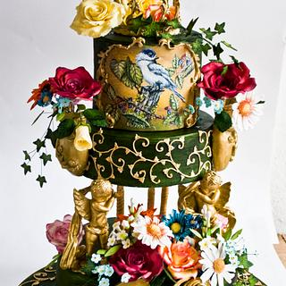 Hand painted baroque cake