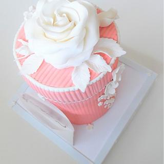 Pink box cake for Valentine's Day